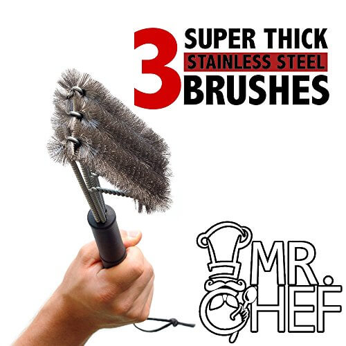 """Grill & BBQ Cleaning Brush Scraper By MR. CHEF – Heavy Duty Stainless Steel Hard Wire Bristles – Ergonomic 3 Brushes In 1 Design – 18"""" Long Weather Resistant Handle – Ideal For All Types Of Grills"""