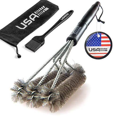 BBQ Grill Brush By USA Kitchen Elite – Best Barbecue Grill Cleaner – 18″- 3 Stainless Steel Brushes in 1 – Perfect for Char-Broil, Weber, Porcelain and Infrared Grills – Handy Bag + Basting Brush