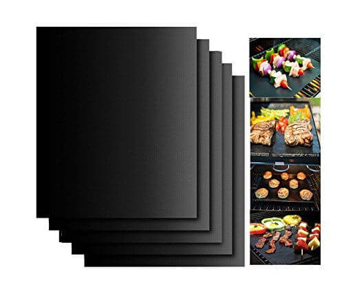 Aoocan Grill Mat Set of 5- 100% Non-stick BBQ Grill & Baking Mats – FDA-Approved, PFOA Free, Reusable and Easy to Clean – Works on Gas, Charcoal, Electric Grill and More – 15.75 x 13 Inch