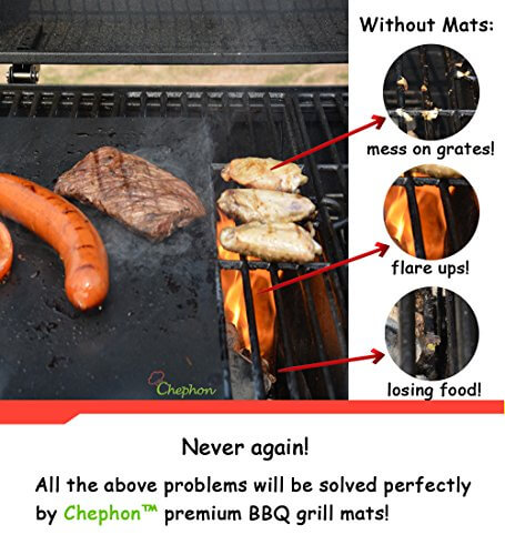 Chephon(TM) Premium Grill Mat – Heavy Duty Reusable Non-Stick BBQ Sheet for Easy Grilling | LifeTime Guarantee, Set of 2 | Great for Gas Charcoal Electric Grills