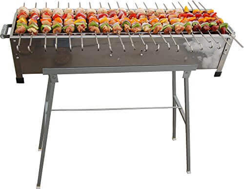 32″ Stainless Steel Shish Kebab Grill w/Stand & 20 Stainless Skewers