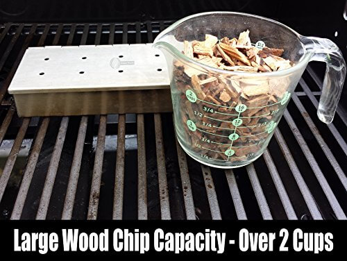 Smoker Box for BBQ Grill Wood Chips – 25% THICKER STAINLESS STEEL WON'T WARP – Charcoal & Gas Barbecue Meat Smoking with Hinged Lid – Best Grilling Accessories & Utensils Gift for Dad by Cave Tools
