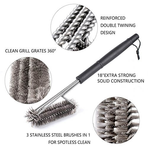 Ompakey BBQ Grill Brush – 18″ Barbeque Brush – Made of Stainless Steel Woven Wire – Durable 3 in 1 Bristles Brushes | Best for Cleaning Rack/Grates of Gas, Electric, Charcoal Grills