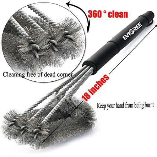 EVIGREEN Grillers BBQ Grill Brush 3 in 1 heavy duty cleaner Stainless Steel Woven Wire Bristles with heat resistant 18 Inch handle with free basting brush and glove Ideal for All Barbecue Lovers