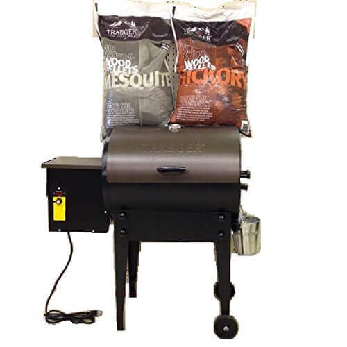 Bundle of 3, Traeger Tailgater TFB30LZB Pellet Grill WITH 20 lb Traeger PEL 319 Hickory Wood Pellets AND 20 lb Trager PEL 305 Mesquite Wood Pellets.