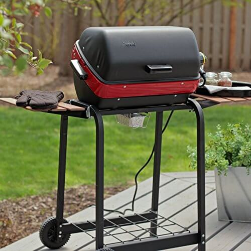 Meco Electric Cart Grill with two folding, composite-wood side tables and wire shelf