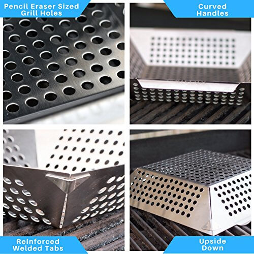 #1 BEST Vegetable Grill Basket – BBQ Accessories for Grilling Veggies, Fish, Meat, Kabob, or Pizza – Use as Wok, Pan, or Smoker – Quality Stainless Steel – Camping Cookware – Charcoal or Gas Grills OK