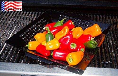 WOK GRILL TOPPER BASKET 12″ , MADE IN USA by Backyard Dudes ® the NON-STICK Porcelain coated BIG 12 inch is a perfect size WOK GRILL TOPPER, veggie basket, VEGETABLE BASKET, BBQ Wok Pan, cook fajita peppers & onions, shrimp, potatoes, mixed veggies with ease. Perfect for Weber Q Grill or Weber Kettle, Napoleon, Kamado, Big Green EGG, Char-Broil, Traeger, Brinkmann, KitchenAid, the Grill Topper is safe for charcoal or gas grill.