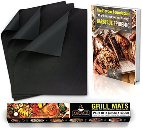 BBQ Grill Mat + Recipe eBook – Heavy Duty Reusable Non Stick – Set of 3 – 16 x 13 Inches – Grill Mat – Thicker Non-Stick Grilling Mats – Grilling Accessories – Barbecue Equipment – Gas Grill, Charcoal