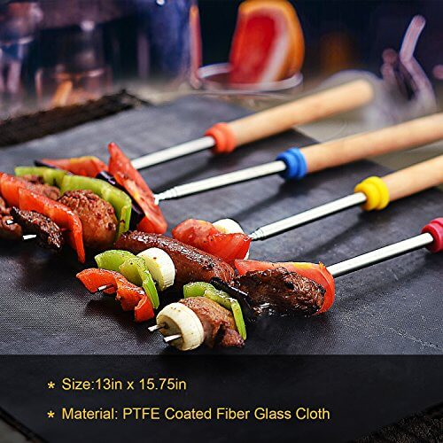 UNIFUN Grill Mat, Set of 3 Non-stick BBQ Grilling Accessories for Weber, Gas, Charcoal Grills with 1 Basting Brush