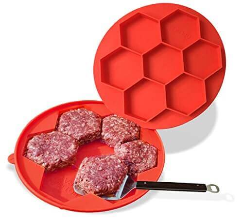 The Burger Stack – 7 in 1 Silicone Burger Press + Burger Freezer Container for Perfect Burger Patties Every Time