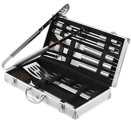 VonHaus 18-Piece Stainless Steel BBQ Accessories Tool Set – Includes Aluminum Storage Case for Barbecue Grill Utensils