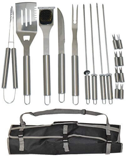 17 Piece Stainless Steel BBQ Grill Set – Barbecue Accessories Grilling Kit Set – by Simplistex