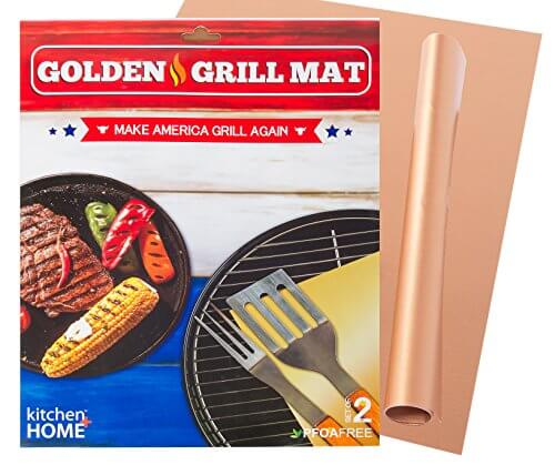 Kitchen + Home Golden Grill Mat – Make America Grill Again – Set of 2 Nonstick, Heavy Duty, Reusable, BPA & PFOA Free BBQ Grill & Baking Mats for Gas, Charcoal & Electric Grills
