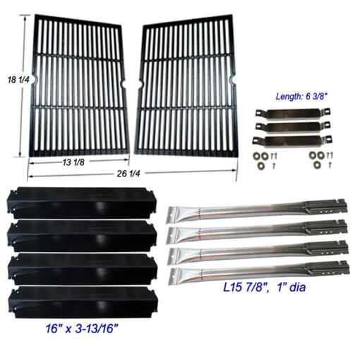 Replacement grill repair kit Charbroil Commercial 463268606 Burner, Carryover Tubes, Heat Plates, Grill Grates