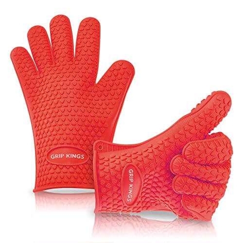 Barbecue Gloves ~ Silicone Oven Mitt ~ Oven Mitt ~ BBQ Gloves ~ Best Silicone BBQ Grill Gloves Set – Red – High Temperature Cooking Gloves Heat Resistant Insulated Rubber Oven Mitt