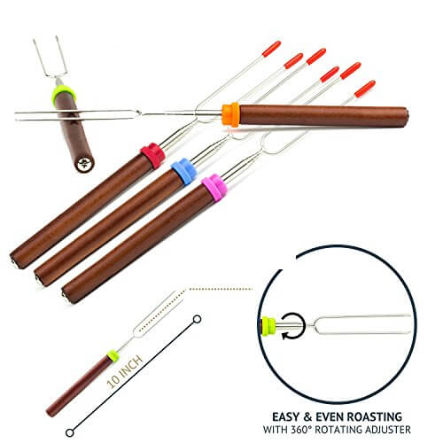 Marshmallow Roasting Sticks – 32 Inch Long S'mores Skewers Telescoping Rotating Forks Kit Camping Grill Cookware Campfire Cooking Kids Accessories – Set of 5