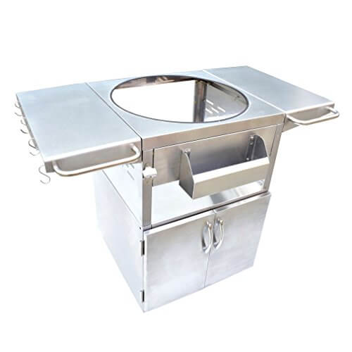 Onlyfire Stainless Steel Grill Table Fit Kamado Joe, Big Green Egg, Char grillers , Primo Grill, Vision Grills, Broil king, Pit Boss and other Ceramic Grill