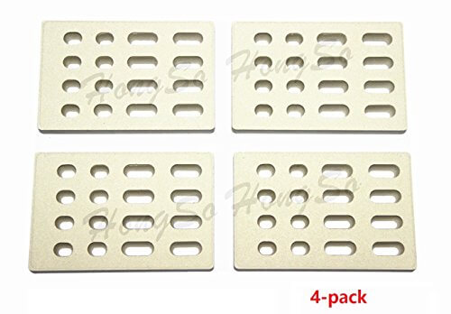 Hongso CRB65504 (4-pack) Universal Replacement Heat Plate Flame Tamer, Ceramic Brick flame tamer, Ceramic Radiant Replacement for BARBEQUES GALORE GRAND TURBO