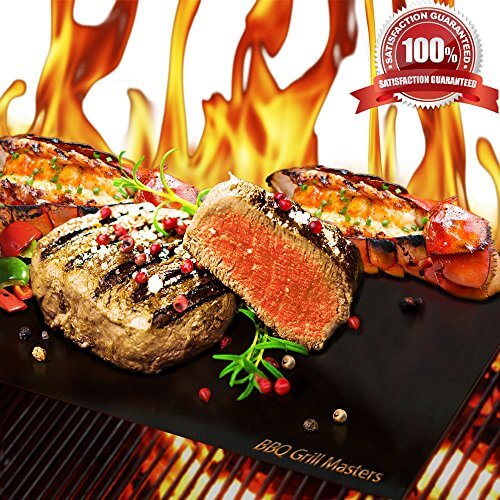BBQ Grill Masters Premium Quality Grill Mat – Set of 4 + Grilling Recipe eBook – Works Great as a Baking Mat or Pan Liner – 100% Non-Stick and Reusable as Grill Pan or Griddle – Durable BBQ Grill Mats