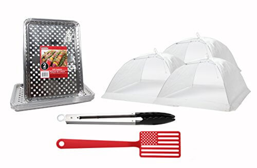 BBQ Accessories Grill & Picnic Bundle – 12+ pieces – Aluminum Foil Grill Toppers American Flag Spatula – White Pop-Up Food Tents and Steel Tongs …