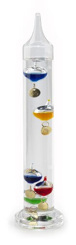 Galileo Thermometer 11 inch Tall with 5 Multi Colored Spheres and Gold Plated Tags in Fahrenheit. By Lily's Home