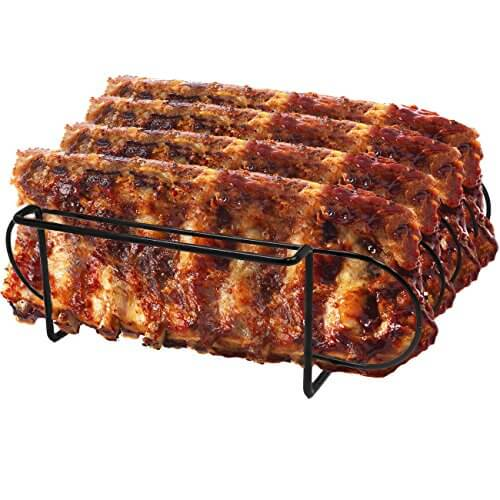 Sorbus® Non-Stick Rib Rack – Porcelain Coated Steel Roasting Stand – Holds 4 Rib Racks for Grilling & Barbecuing