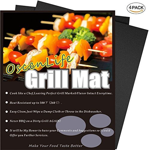Professional Grill Mat, Set of 4 Nonstick BBQ Grilling Mats, Reusable and Easy to Clean Barbecue Grill Accessories (13x16Inch)