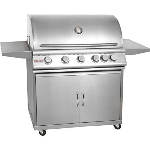 Blaze BLZ-5LP + BLZ-5-CART 40″ Grill on Cart with 5 Commercial Quality 304 Cast Stainless Steel Burners Infrared Rear Rotisserie Burner 80 000 Total BTUs in Stainless