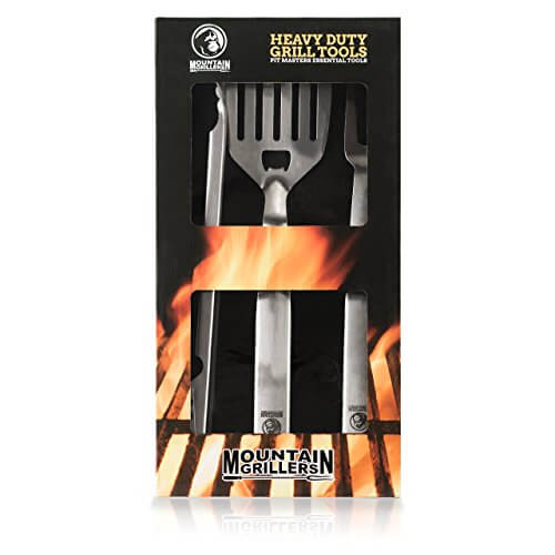 BBQ Utensils Set – Heavy Duty Stainless Steel Grilling Tools With Long Handles And Non-slip Grips – Give The Perfect Barbecue Accessories Gift For The Special Griller In Your Life by Mountain Grillers