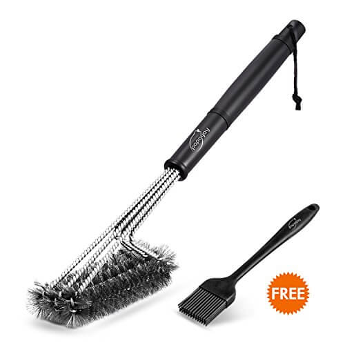BBQ Grill Brush, PAPAYAY – 18 Inches Best 360° Barbecue Grill Cleaner – 3 Stainless Steel Brushes In 1 -Perfect for Char-Broil, Weber, Porcelain and Infrared Grills + Free Basting & Pastry Brush