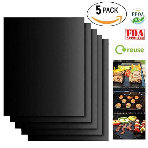 Grill Mat Set of 5 100% Non Stick BBQ Grill & Baking Mat Reusable Easy Clean 16″x13″ For Gas Charcoal Electric Grill and More – FDA Approved PFOA Free Dishwasher Safe