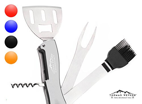 5-in-1 BBQ Multi Tool by Thomas Weyker – Portable Grill Tool Set with Stainless Steel Spatula, Fork, Grill Brush, and more – Grilling Multitool for Backyard Grilling, Barbecue, and Camping (Silver)