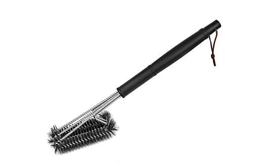 BBQ ETC 18″ 3 IN 1 Universal 360° BBQ Grill Brush With Stainless Steel Bristles Extended Handle Grill Cleaner Durable & Effective Barbecue Cleaner + Carrying Case Washable (Black)