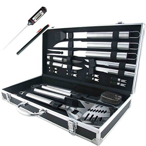 19-Piece BBQ Grill Tools Set, Stainless Steel Utensils Barbecue Grill Accessories with Aluminum Storage Case with Digital Thermometer – Complete Outdoor Grilling Kit for Dad