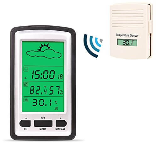 Weather Channel Thermometer, Professional Wireless Weather Station with Temperature, Humidity, Forecast, Clock and More, Indoor / Outdoor Remote Thermometer Sensor