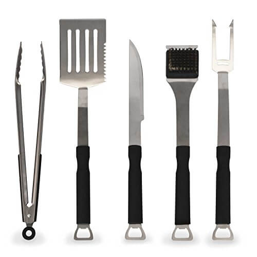 Flamen 5-Piece Heavy Duty Stainless-Steel BBQ Grill Tools Set with Non-Slip Handles – BEST Grilling Utensils Includes Spatula Barbecue Fork & Tongs – Premium Barbecue Grilling Accessories