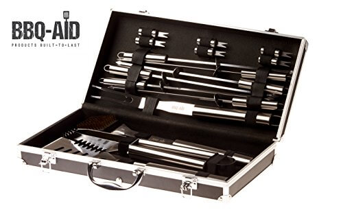 BBQ-Aid 16 Piece Stainless Steel BBQ Grilling Accessories Set