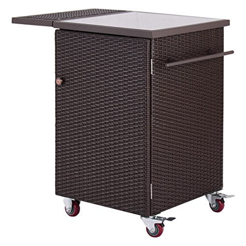 Giantex Brown Rattan Wicker Kitchen Trolley Cart Patio Roller Dining Storage Glass Stand (Brown)