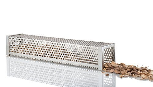 #1 BBQ Smoker Tube 12″ (Square) – Enhances Flavors of Grilled Meats & Vegetables – Add Cherry, Hickory, Mesquite or Apple Wood Pellets – Works with Gas or Charcoal Grills