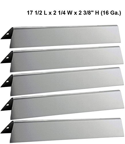 17 1/2″ L Stainless Steel Heat Plates 7620 (5-Pack) For Weber Genesis 300 series Gas Grills (Front-mounted Control Panel), Dims: 17 1/2 x 2 1/4 x 2 3/8″ H (16 Ga.)