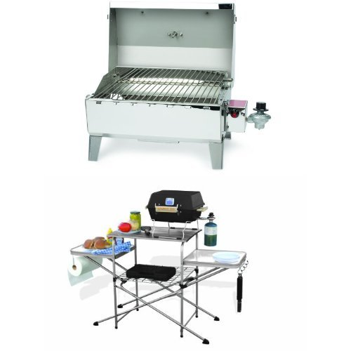 Camco Stainless Steel Portable Propane Gas Grill and Deluxe Grilling Table Bundle