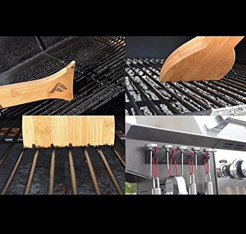 FEROS KIT – (2 items!) Safer Scraper Wood Grill Cleaner AND Magnetic BBQ Grill Tool Accessory Holder – Holds 4 Utensils and 5 Thermometers! Great to hold spatula, tongs, brushes