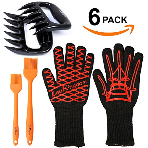 LauKingdom BBQ Grill Tools, Grilling Accessories with Heat Resistant Gloves, Meat Claws & Brushes