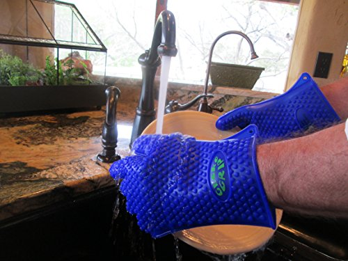 Verde River Products Silicone Heat Resistant BBQ Grilling Gloves – Best Protective Insulated Kitchen – Oven – Grill – Baking – Smoker & Cooking – Waterproof Grip – Replace Potholders & Mitts BLUE