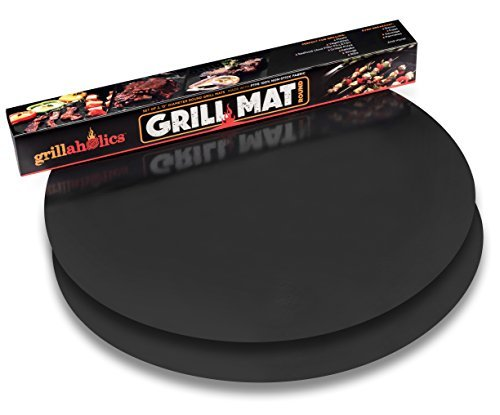 Grillaholics Grill Mat Round – As Featured on Rachael Ray Top Grilling Accessories – Set of 2 Nonstick BBQ Grilling Mats – 15 Inch (Round)