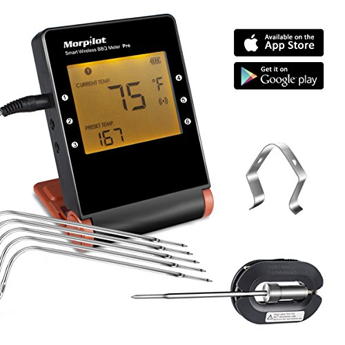 MorPilot MP-17 Wireless Remote Digital Cooking Meat Thermometer 6 Upgraded Probes and 1 Clips for Grilling Smoker BBQ Cooking Food, Wireless Monitor Cooking Food from 160 Feet, Sensor Probes Guarantee