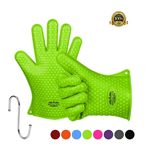 Molecule Gloves 446°f Extreme Heat Resistant Gloves Oven Kitchen Silicone Glove Grilling Mitts Potholder For BBQ , Cooking , Baking , FDA Approved (1 Pair)