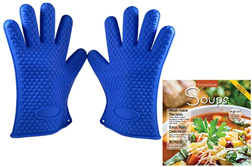 {3 Piece Bundle} – Silicone Heat Resistant Non Slip Barbecue Grill Gloves + Foods We Love Recipe Book (Soups)