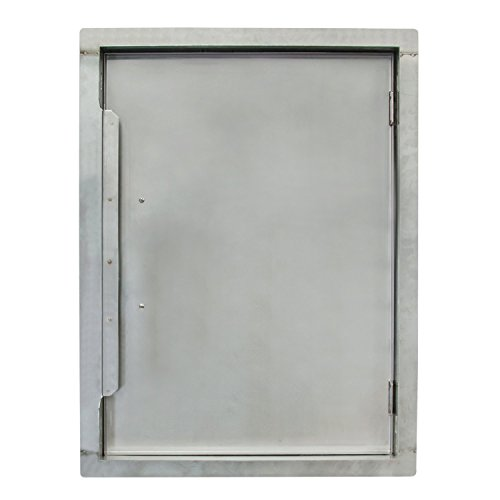 """Houseables BBQ Access Door, Stainless Steel, Vertical, Single, 17 x 24 Inch, Commercial Grade, ½"""" Thick Frame, Patio Island Cabinet, Outdoor Barbecue Grill Kitchen, Flush Mount, Chrome Handle"""